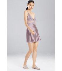sleek lace chemise pajamas / sleepwear / loungewear, women's, brown, silk, size l, josie natori