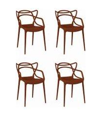 conjunto 04 cadeiras allegra pp laranja telha rivatti