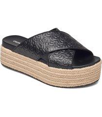 wedge pf sandal crisscross pa-pl sandaletter expadrilles låga svart calvin klein