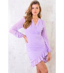 chiffon overslag jurk lila