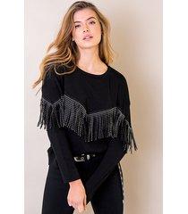 franje studs trui zwart