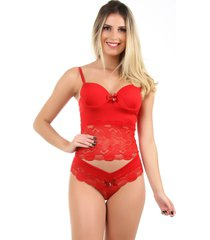 corpete imi lingerie corset corselet com bojo em microfibra e renda fio duplo sasha vermelho - vermelho - feminino - renda - dafiti