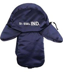 diesel slogan print aviator hat - blue