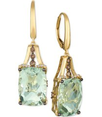 le vian mint julep quartz (12-3/8 ct. t.w.) & diamond (3/8 ct. t.w.) drop earrings in 14k gold