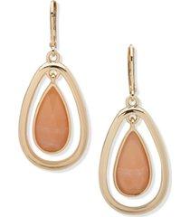 anne klein gold-tone stone teardrop orbital drop earrings