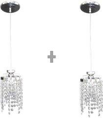 kit 2 lustres de cristal legãtimo k9 13x124  lina design ac65 - prata - dafiti