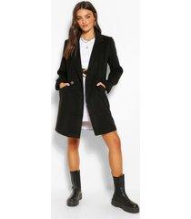 nepwollen jas met zak detail en dubbele knopen, black