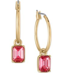 rachel rachel roy gold-tone pink stone drop hoop earrings