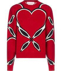 heart-motif intarsia viscose-knit sweater
