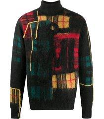 jw anderson patchwork turtleneck jumper - brown
