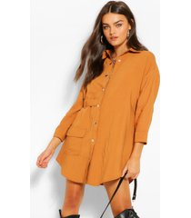 blouse jurk met utility zakken, roest