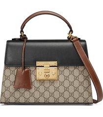 gucci small padlockcanvas & leather top handle satchel -