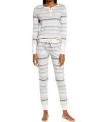 women's splendid print thermal pajamas, size large - grey