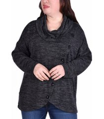 ny collection women's plus size long sleeve cowl neck top
