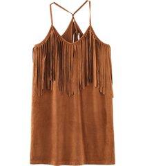 vestido flecos escote camel nicopoly