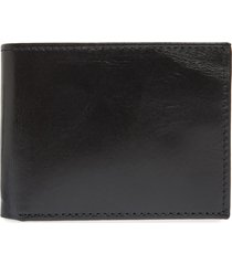 johnston & murphy leather flip wallet in black full grain leather at nordstrom