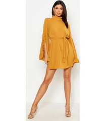 boho high neck wide sleeve shift dress, mustard