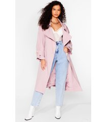 womens cover your basics belted trench coat - pink