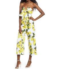 women's english factory lemon print tie strapless jumpsuit