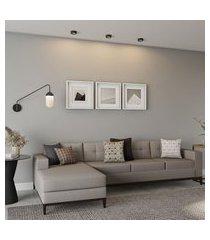 sofá 4 lugares life com chaise esquerdo pés e base em madeira linho cotton cru