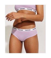 calcinha feminina pantone caleçon canelada com elástico lilás