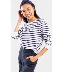 amie striped front pocket sweatshirt - white