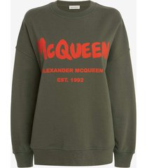 khaki mcqueen graffiti sweatshirt