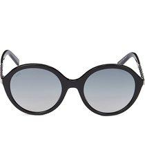 tod's women's 55mm round sunglasses - black