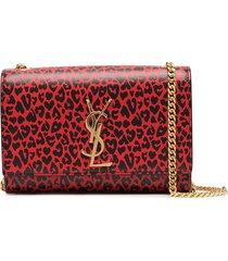 saint laurent kate leopard-print shoulder bag - black
