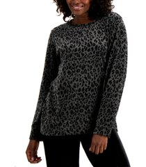 karen scott petite printed velour sweatshirt, created for macy's