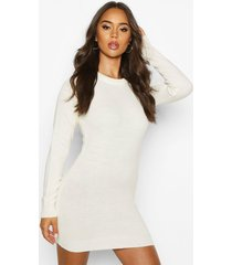 crew neck long sleeve dress, ivory
