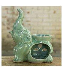 celadon oil warmer, 'yogic elephant' (thailand)