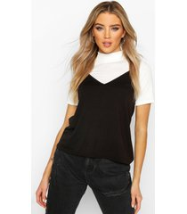 high neck 2-in-1 cami top, black