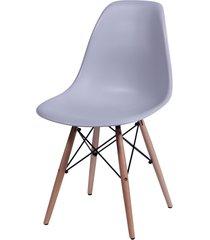 cadeira dkr polipropileno e base de madeira lawang – cinza
