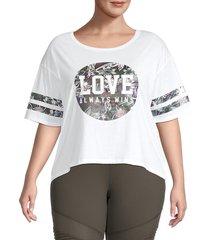 betsey johnson women's plus love always wins t-shirt - white - size 3x (22-24)