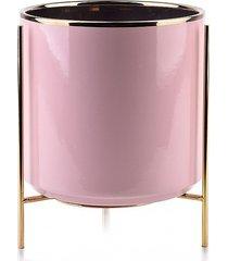 kwietnik metalowy osłonka ceramiczna różowa m