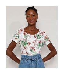 camiseta feminina estampada floral manga curta decote redondo off white