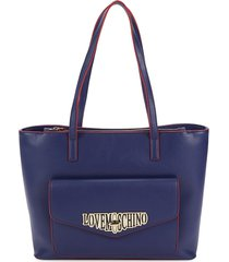 love moschino women's logo faux leather tote - blue