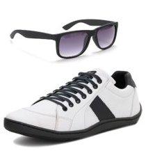 sapatênis casual tênis masculino form's original + óculos  cinza