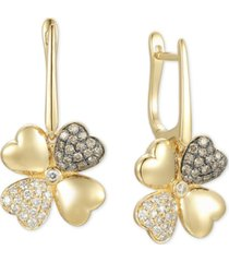 le vian diamond flower hoop drop earrings (3/4 ct. t.w.) in 14k gold