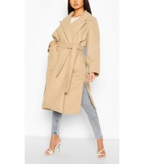 oversized belted wool look coat, stone