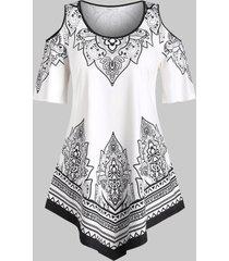 plus size asymmetric hem open shoulder print tunic tee