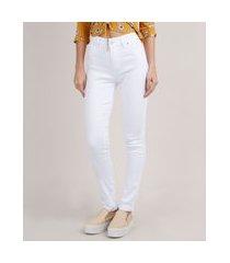 calça skinny pull up de sarja feminina sawary cintura alta levanta bumbum branca