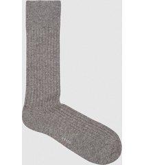 reiss kane - wool blend ribbed socks in grey melange, mens