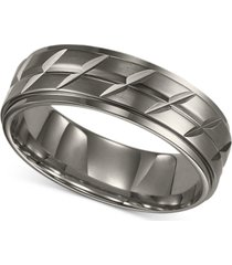 triton men's titanium ring, etched wedding band