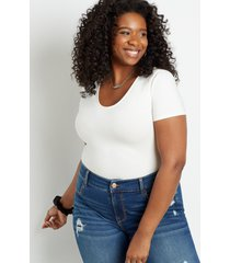 maurices plus size womens 24/7 solid basic bodysuit white