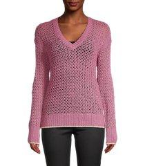 design 365 women's crochet v-neck top - mauve - size l