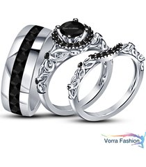 bride & groom wedding band engagement ring trio set white gold plated 925 silver