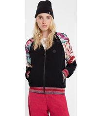 floral track suit jacket - black - xl