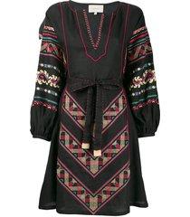sleeping gypsy embroidered design dress - black